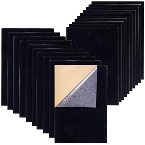 Anpatio Fabric Adhesive Sheets Black Velvet Sticky Back Felt Waterproof Craft Backed Sheet for Jewelry Boxes Art and Craft Making A4 20 Sheet 8.27
