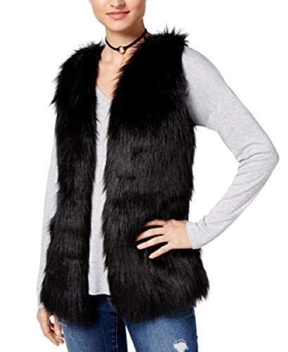 Hippie Rose Juniors' Faux-Fur Sweater Vest (Black, L)
