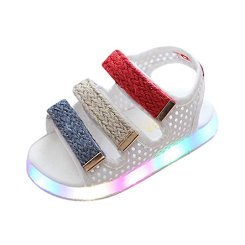 Hometom Kids LED Light up Shoes Flashing Sneakers for Girls Boys (Sandals (White), Age:3-3.5 Year)