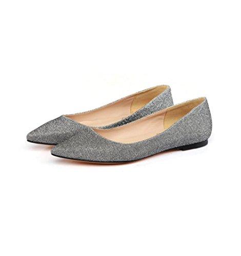 Cuero Zapatos Cuero Moda De Zapatos De De MUYII Silver Mujer De qpOnz
