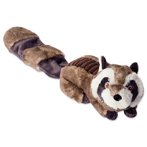 Bone Dry DII Crinkle Noise, Squeaking Plush Body Dog Toy, 1 Piece Sophie Raccoon Woodland Friends Pet Toy for Small, Medium and Large Dogs