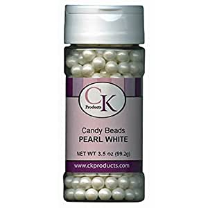 CK Products Pearl White Candy Beads 3.5 Ounces