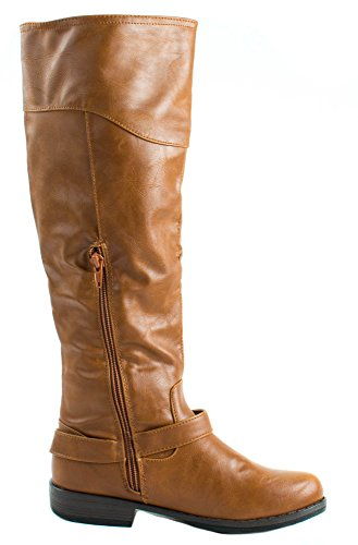 Knee 09 Leatherette Chestnut Boots with Bamboo Women's Buckles Golden Zipper and High Montana Faux qwEnXw0I4