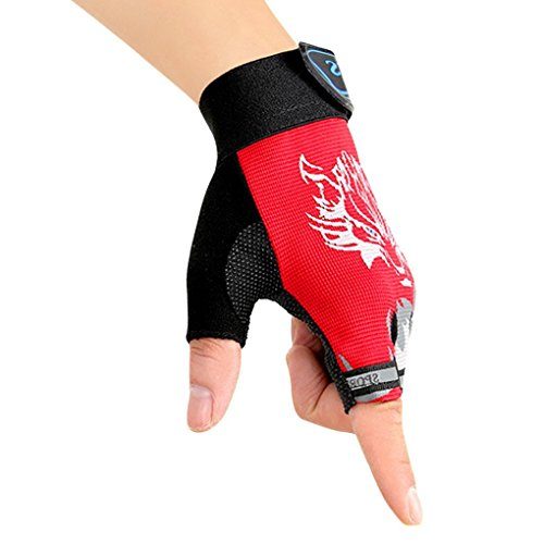 Very collocation Kids Cycling Gloves,Non-Slip Children Half Finger Breathable Gloves Skating Fishing, Climbing ()