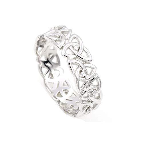 White Celtic Wedding Band - MOJ 9ct WHITE GOLD GENUINE DIAMOND Celtic Trinity Knot HER Wedding Band Ring NEW
