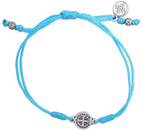 My Saint My Hero Inspirational Breathe Bracelet, Adjustable (Silver Plated Medal on Turqoise) -