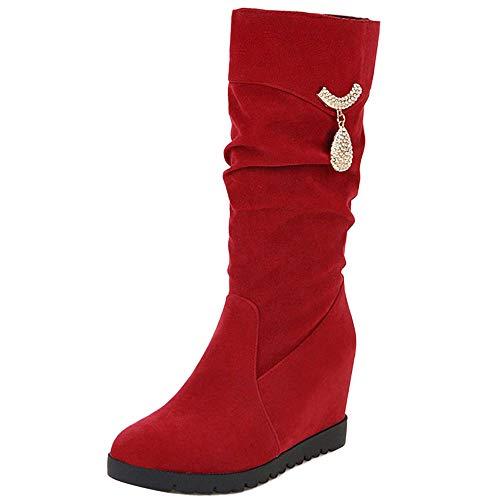 TAOFFEN TAOFFEN Zeppa Rosso Stivali Pull On Moda Autunnali Donna Scarpe gqt1rg