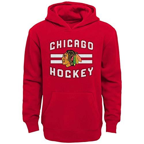 Genuine Stuff Chicago Blackhawks Youth NHL Goal Maker Lace Up Hooded Sweatshirt - Red, Youth Large