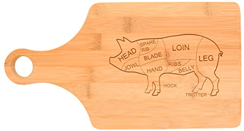Pork Butcher Cuts Kitchen Décor Barbecue BBQ Pig Bacon Paddle Shaped Bamboo Cutting Board Bamboo