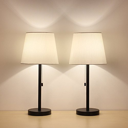 HAITRAL Table Lamp Set of 2 Modern Desk Lamps Black Night La