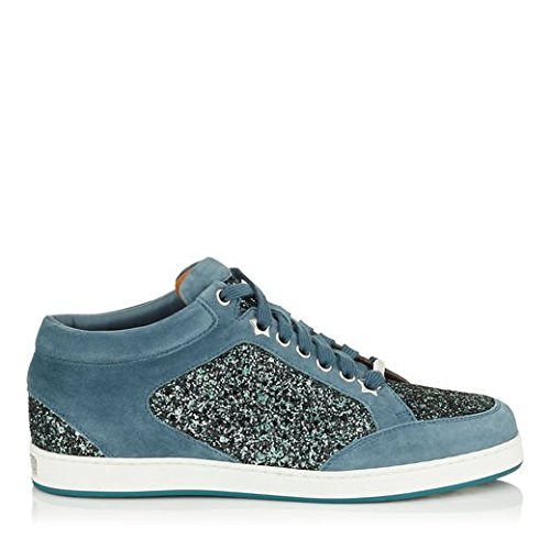 Miami Choo Jimmy Dusk Sneakers Blue Leather Star and Glitter Agdq5