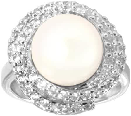 Sterling Silver and Cubic Zirconia with Freshwater Cultured Pearl Ring