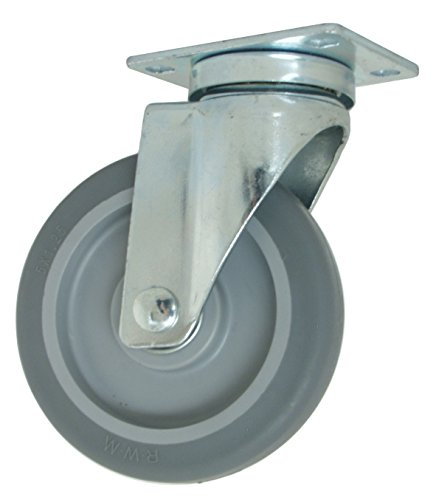 "RWM Casters VersaTrac 27 Series Plate Caster, Swivel, TPR Rubber Wheel, Ball Bearing, 300 lbs Capacity, 5"" Wheel Dia, 1-1/4"" Wheel Width, 6-5/16"" Mount Height, 3-3/4"" Plate Length, 2-5/8"" Plate Width from RWM Casters"