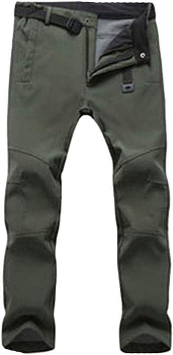 DaiHan Hombre/Mujer Pantalones de Trekking Pantalones de Softshell Transpirable de Escalada Pantalones Impermeable Deportes Calentar Invierno
