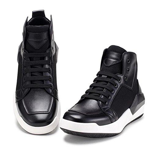 Chaussures De Tendon En Cuir De Loisirs Des Hommes Dress Automne Business Boots Mode Glisser Sur Blanc Noir zBMBO