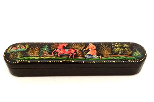 """Russian lacquer box Palekh Hand painted """"Hunchback Pony,Firebird and Ivan Tzarevich""""Signed by the artist"""
