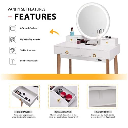 VIVOHOME Vanity Set with 3-Color Touch Screen Dimmable Lighted Metal Mirror, Makeup Table with Drawers, Padded Stool…