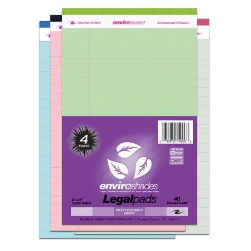 Roaring Spring Enviroshades 5x8 Assorted Legal Pad 4/Pack