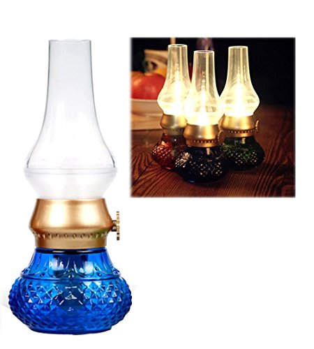 Kssfire LED Blowing Control Vintage Nostalgic Kerosene Lamp USB Rechargeble Brightness Adjustable Handheld Candle Flickering 16-18 Lm Night Light (Blue)