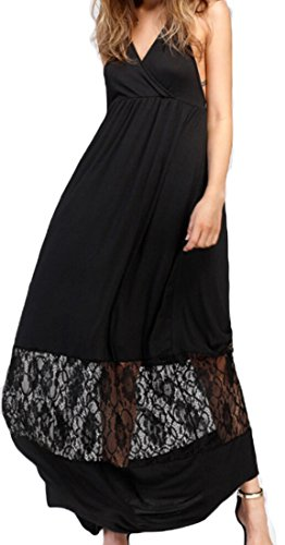Party Maxi BacklessHalter Womens Dress Jaycargogo Sexy Black Lace Splice Elegant SYxwqC0