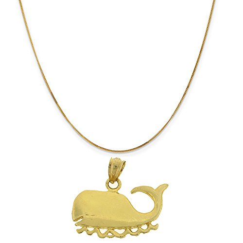 14k Yellow Gold Whales Pendant on a 14K Yellow Gold Curb Chain Necklace, 16