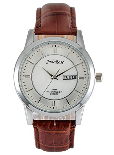JADEROSE Man Wriste Watch with Date-Day White MOP Dial Soft Genuine Leather (Mop Quartz Watch)