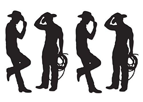 Beistle S54225AZ2, 4 Piece Cowboy Silhouettes, 35'' & 37'' (Black) -