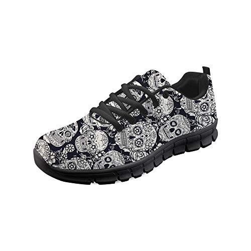 Sugar Sneakers Walking Up Lightweight Sugar Coloranimal Jogging Go 2 Skulls Lace Flats Easy Skulls xCpwWqtFT