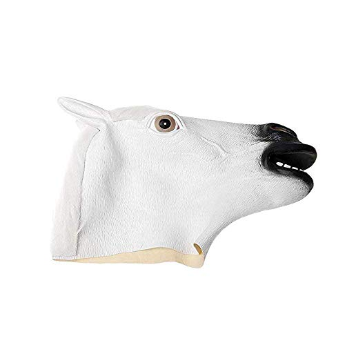 (ZOUQILAI Halloween Animal Masks White Horse Head Mask Green Latex Animal Mask Party Show Funny Stupid Props Cosplay Party Face)