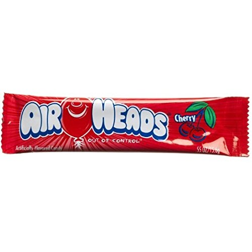 Airheads Taffy Candy Bars, Cherry, 0.55 Oz /15.6 G (Pack of 72)
