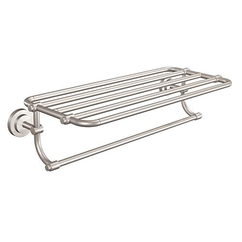 Moen DN0794BN Iso Collection 24-Inch Wide Bathroom Hotel-Style Shelf with Towel Bar, Brushed Nickel (Brushed Shelf)