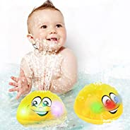 wellvo Baby Bath Toys, Water Spray Bath Toys for Kids LED Light Up Bath Toys for Toddlers Automatic Induction