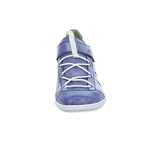 Rieker 43855 Damen Halbschuh Gummizug Klettverschluss gepolsterte Decksohle Blau