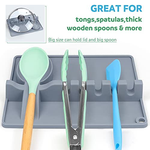 Silicone Spoon Rest,2021 Upgrade 2 in 1 Utensil Holder with Drip Pad for More Utensil,Spatula,Spoon,Ladle,Tongs.Larger Size,Multi Holder,Heat-Resistant,BPA Free,For Kitchen,BBQ.Include 2 Oven Mitts