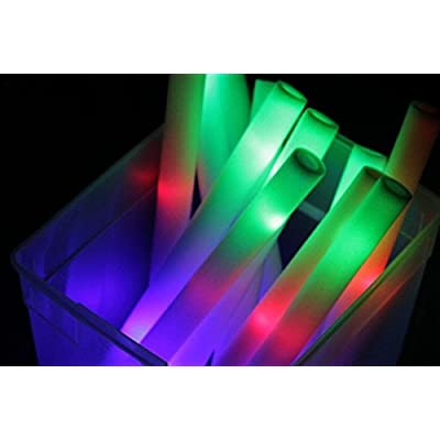 "18"" Multicolor LED Foam Stick Baton for Weddings, Parties and Dancing, 200 Pack LED Glow Sticks with 3 Mode Lighting"