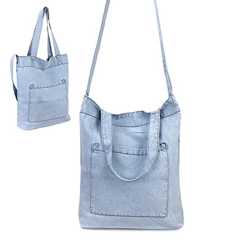 Hoxis Multifunction Pocket Soft Denim Shoulder Handbag Womes Shopper Purse (Sky Blue)