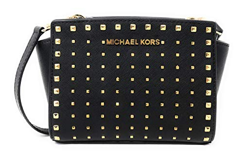Michael Kors Selma Stud Mini Saffiano Leather Crossbody Bag in Black