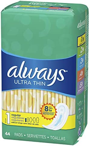 ALWAYS Ultra Thin Size 1 Regular Pads Without Wings Unscented, 44 Count