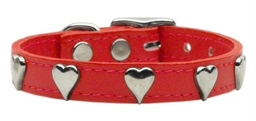 Mirage Pet Products Heart Leather Red Dog Collar, 20
