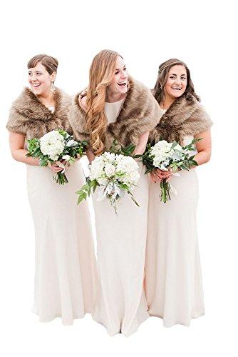 Faux Fur Wrap Bridesmaid Shrug Shawl Stole Scarves Strained Wedding Cape Cloaks