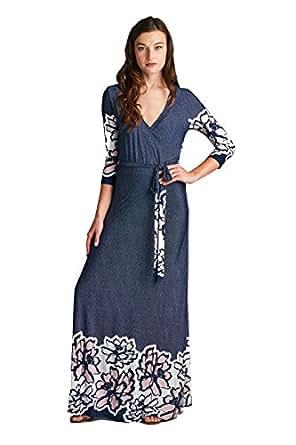 On Trend Women's Paris Bohemian 3/4 Sleeve Long Maxi Dress (Small, Navy)