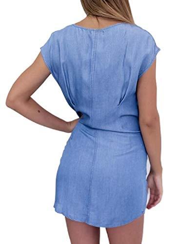 Mstyle Women's Irregular Sexy Short Sleeve Round Neck Summer Party Mini Dress