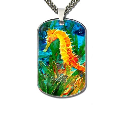 Orange Seahorse Funny Pet Tag, Funny Dog Tag, Dog Collar Tag, Pet Tags Dog Tag -
