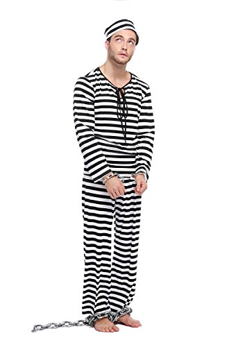 [GoLoveY Men's Striped Jailbird Convict Prisoner Costume with Hat (Medium)] (Robber Costumes)