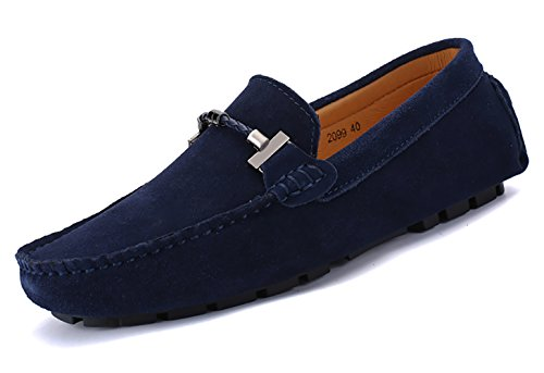 Go Tour Mens Loafers Penny Moccasins Driving Drivers Casual Dress Suede Leather Slip On Flats Boat Shoes 2 Dark Blue hgLPg