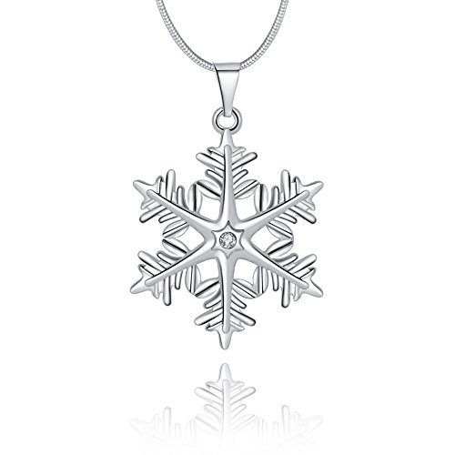 Snowflake Pendant Necklace Silver Blue and White Swarovski Crystals Christmas Necklace for Mom Women Teen Girls -