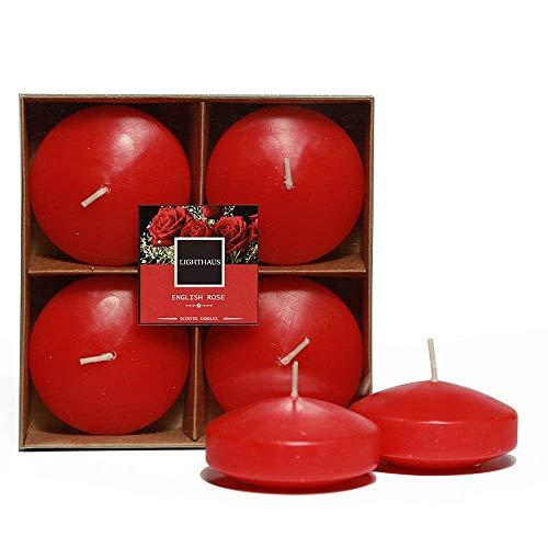 - Lighthaus Candles Set of 4 Floating Scented Decoration English Rose Aroma Festival Decoration & Lightining Candle 2.5