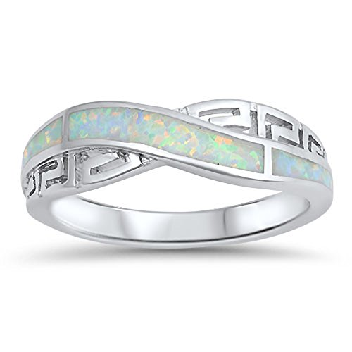 Infinity Knot Greek Key White Simulated Opal Ring .925 Sterling Silver Band Size - Jewelry Key Greek