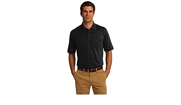 9453f0ea Port & Company Core Blend Jersey Knit Pocket Polo. KP55P Jet Black 2XL at  Amazon Men's Clothing store: