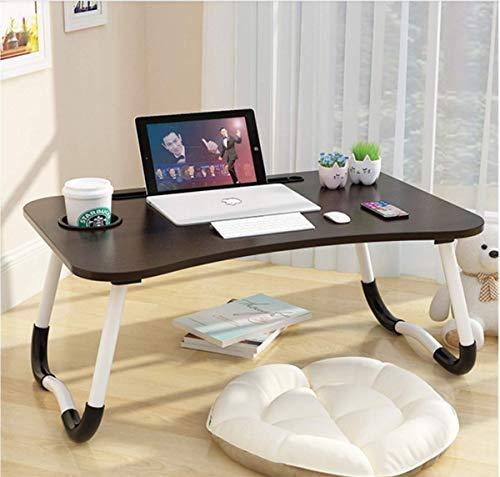 Mesa de cama para ordenador portátil, escritorio portátil, soporte de lectura, con patas plegables y posavasos, para…